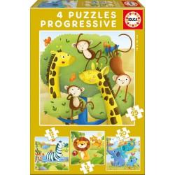 Puzzle progresivo 12 16 20 25 Animales salvajes