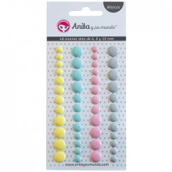 Blíster 48 enamel Dots 4,6,10mm colores pastel