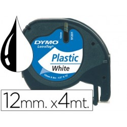 Cinta Dymo 12mm x 4mt negro/blanco