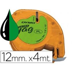 Cinta Dymo 12mm x 4mt negro/verde