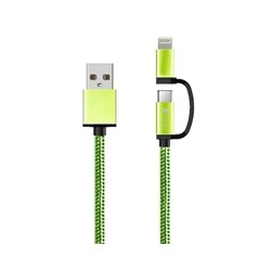 Cable Usb 2 en 1 Micro Usb + iPhone verde