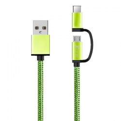 Cable Usb a Micro Usb+Tipo C verde