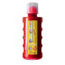 Témpera PlaycolorLiquid glitter 250ml rojo