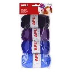Pack 4 ovillos lana tonos azul Apli