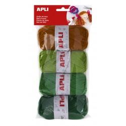 Pack 4 ovillos lana tonos verde Apli