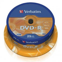 DVD-R tarrina 25uds 4.7Gb 16x 120mi